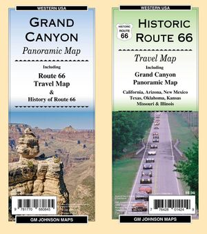 HISTORIC ROUTE 66 & GRAND CANYON PANORAMIC MAP -GM JOHNSON
