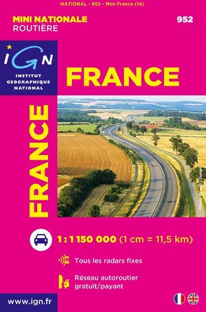 FRANCE -MINI NATIONALE ROUTIÈRE IGN E1:1.150.000-