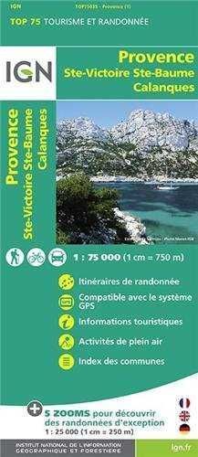 PROVENCE STE-VICTORIE STE-BAUME CALANQUES 1:75.000 -IGN