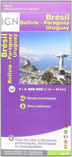 BRESIL BOLIVIE PARAGUAY URUGUAY 1:4.000.000 -IGN