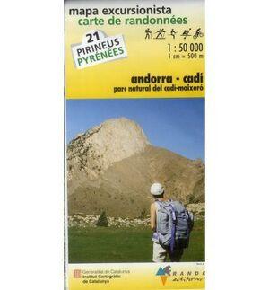 MAPA ANDORRA CADI- PARC NATURAL CADI MOIXERO