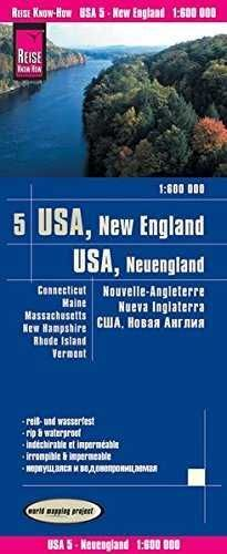 USA5: NUEVA INGLATERRA 1:600.000 IMPERMEABLE