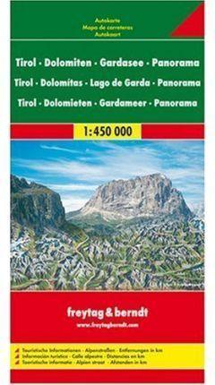 MAPA TIROL  Y DOLOMITAS 1:450 000 (CON PANORAMA)