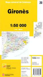 GIRONES MAPA COMARCAL DE CATALUNYA 1:50 000.